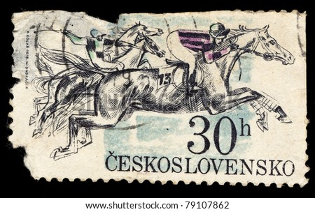 CZECHOSLOVAKIA - CIRCA 1976: A Stamp printed in Czechoslovakia shows image of  running horse, circa 1978 - stock photo