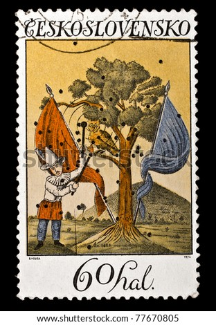 CZECHOSLOVAKIA - CIRCA 1974: A stamp printed in Czechoslovakia, shows landscape with Pierrot and flags 1828, circa 1974
