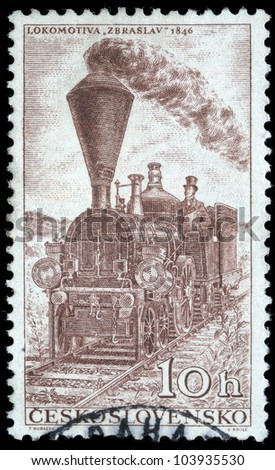 CZECHOSLOVAKIA - CIRCA 1956: A stamp printed in Czechoslovakia, shows Locomotiv Zbraslav - 1846, circa 1956 - stock photo