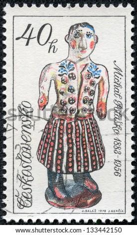 "CZECHOSLOVAKIA - CIRCA 1978: A stamp printed in Czechoslovakia, shows Man in Kilt, with the inscription ""Michal Polasko 1883 - 1956"", from the series ""Slovak Ceramics"", circa 1978 - stock photo"