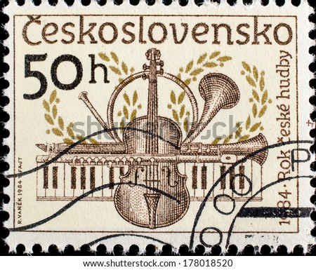 CZECHOSLOVAKIA - CIRCA 1984: A stamp printed in Czechoslovakia, shows Musical instruments , circa 1984  - stock photo
