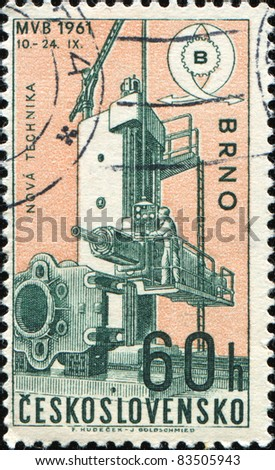CZECHOSLOVAKIA - CIRCA 1961: A stamp printed in Czechoslovakia shows new technique, circa 19681 - stock photo