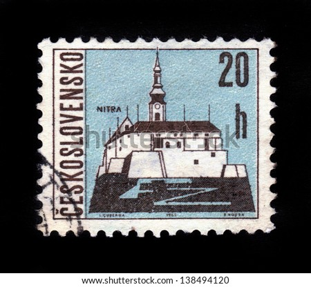 CZECHOSLOVAKIA - CIRCA 1965: A stamp printed in Czechoslovakia shows Nitra Castle, western Slovakia, situated at the foot of Zobor Mountain in the valley of the river Nitra, circa 1965 - stock photo