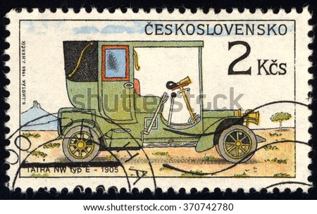 CZECHOSLOVAKIA - CIRCA 1988: A stamp printed in Czechoslovakia shows Old-Time Classical Car - NW Tip E, Historic Motor Cars series, circa 1988 - stock photo