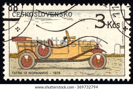 CZECHOSLOVAKIA - CIRCA 1988: A stamp printed in Czechoslovakia shows Old-Time Classical Car - Tatra 12 Normandie, Historic Motor Cars series, circa 1988