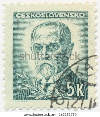 CZECHOSLOVAKIA - CIRCA  1945: A stamp printed in Czechoslovakia shows portrait of President Tomas Masaryk (1850-1937), circa 1945