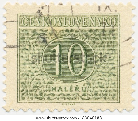 CZECHOSLOVAKIA - CIRCA  1955: A stamp printed in Czechoslovakia shows postage stamp with the number 10, circa 1955
