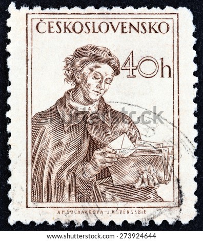 CZECHOSLOVAKIA - CIRCA 1954: A stamp printed in Czechoslovakia shows postwoman, circa 1954. - stock photo