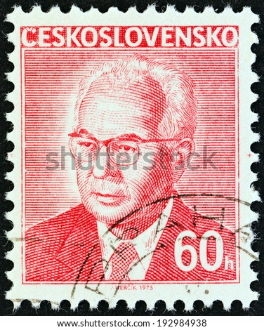 CZECHOSLOVAKIA - CIRCA 1975: A stamp printed in Czechoslovakia shows president Gustav Husak, circa 1975.  - stock photo