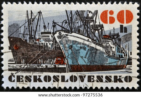 "CZECHOSLOVAKIA - CIRCA 1972: A stamp printed in Czechoslovakia, shows research vessel ""Mir"", circa 1972"