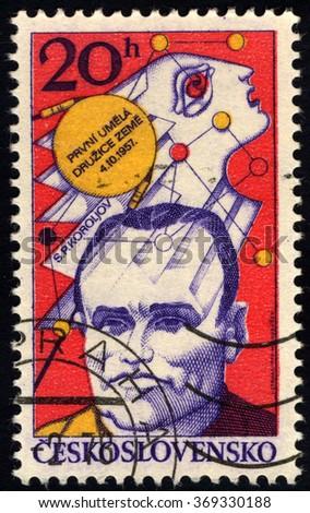 CZECHOSLOVAKIA - CIRCA 1977: A stamp printed in Czechoslovakia shows S. P. Koroljov - Aeronautics Research series, circa 1977 - stock photo
