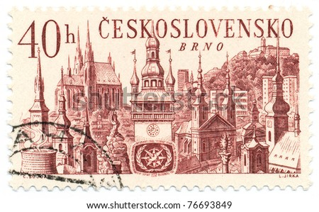 CZECHOSLOVAKIA - CIRCA 1967: A stamp printed in Czechoslovakia shows Spielberg Castle and churches, Brno, circa 1967 - stock photo