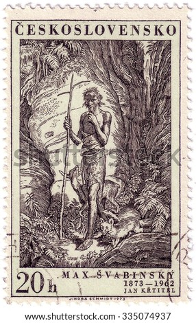 CZECHOSLOVAKIA - CIRCA 1973: A stamp printed in Czechoslovakia, shows St. John, the Baptist, by Max Svabinsky, circa 1973