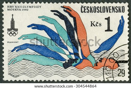 CZECHOSLOVAKIA - CIRCA 1980: A stamp printed in Czechoslovakia shows swimming, XXII 22nd Olympic  Summer Games in Moscow, circa 1980 - stock photo