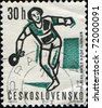 CZECHOSLOVAKIA - CIRCA 1992: A stamp printed in Czechoslovakia, shows table tennis player, circa 1992 - stock photo