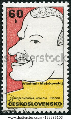 CZECHOSLOVAKIA - CIRCA 1969: A stamp printed in Czechoslovakia shows Vladimir Mayakovsky (1893-1930), Russian poet, series Cultural personalities of the 20th centenary and UNESCO, circa 1969