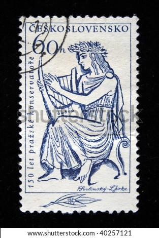CZECHOSLOVAKIA - CIRCA 1958: A Stamp printed in Czechoslovakia shows woman playing the harp, series honoring 150 years of Prague Conservatory,  circa 1958