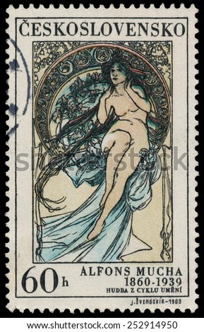 "CZECHOSLOVAKIA - CIRCA 1969: A stamp printed in Czechoslovakia shows women allegory ""Painting"" by Alfons Mucha, circa 1969 - stock photo"