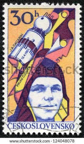 CZECHOSLOVAKIA - CIRCA 1977: A stamp printed in Czechoslovakia, shows Yuri Gagarin, Soviet cosmonaut, first man in space, circa 1977 - stock photo