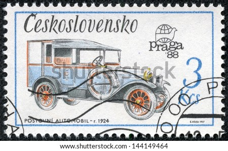 CZECHOSLOVAKIA - CIRCA 1987: A stamp printed in Czechoslovakia, shows Zip car (1924), series, circa 1987