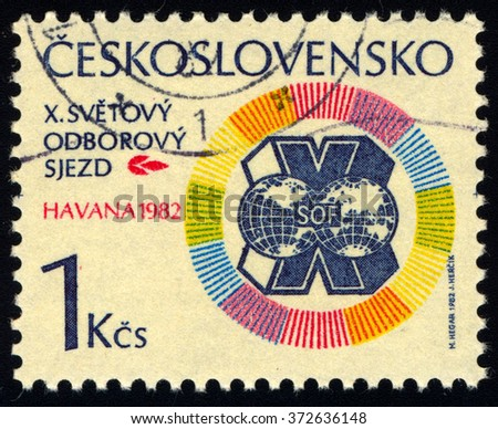 CZECHOSLOVAKIA - CIRCA 1982: A stamp printed in Czechoslovakia to commemorate 10th Anniversary of World Trade Union Congress Havana, circa 1982. - stock photo
