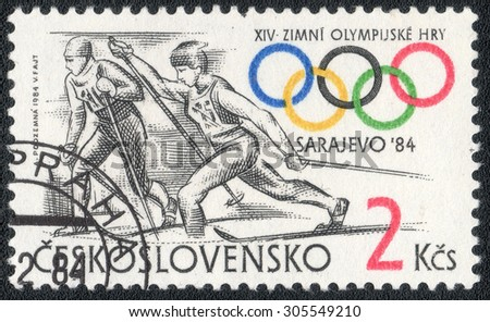 """CZECHOSLOVAKIA - CIRCA 1984: a stamp printed in the Czechoslovakia shows a series of images """"Winter Olympic Games in Sarajevo in 1984"""", circa 1984 - stock photo"""