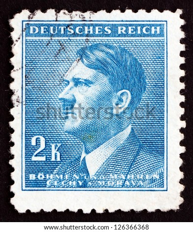 CZECHOSLOVAKIA - CIRCA 1942: a stamp printed in the Czechoslovakia shows Adolf Hitler, Chancellor of Germany, Politician, Bohemia and Moravia, circa 1942 - stock photo