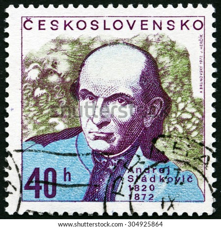 CZECHOSLOVAKIA - CIRCA 1972: a stamp printed in the Czechoslovakia shows Andrej Sladkovic, Slovak Poet, Critic, Publicist and Translator, circa 1972 - stock photo
