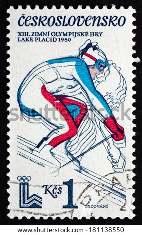 CZECHOSLOVAKIA - CIRCA 1980: a stamp printed in the Czechoslovakia shows Downhill Skiing, 13th Winter Olympic Games, Lake Placid, New York, circa 1980 - stock photo