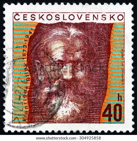 CZECHOSLOVAKIA - CIRCA 1972: a stamp printed in the Czechoslovakia shows Frantisek Bilek, Czech Sculptor and Architect, circa 1972 - stock photo