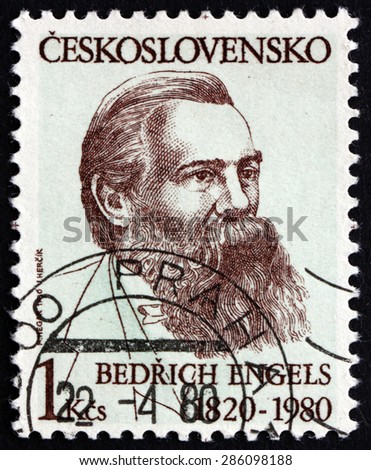 CZECHOSLOVAKIA - CIRCA 1980: a stamp printed in the Czechoslovakia shows Friedrich Engels, German Social Scientist, author, Philosopher, circa 1980 - stock photo