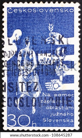 CZECHOSLOVAKIA - CIRCA 1965: a stamp printed in the Czechoslovakia shows Help for Danube Flood Victims in Slovakia, circa 1965