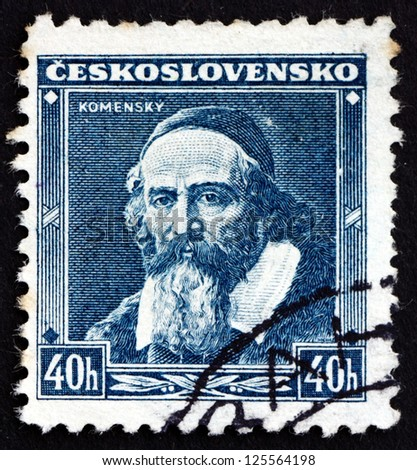 CZECHOSLOVAKIA - CIRCA 1936: a stamp printed in the Czechoslovakia shows Jan Amos Komensky, Comenius, Teacher, Educator and Writer, circa 1936