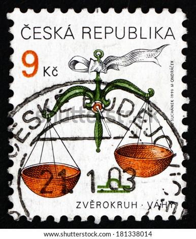 CZECHOSLOVAKIA - CIRCA 1999: a stamp printed in the Czechoslovakia shows Libra, Sign of the Zodiac, circa 1999 - stock photo
