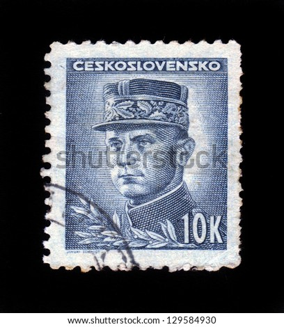 CZECHOSLOVAKIA - CIRCA 1945: a stamp printed in the Czechoslovakia shows portrait of general Milan Rastislav Stefanik, slovak politician, diplomat and astronomer, circa 1945 - stock photo