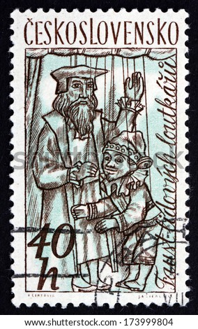 CZECHOSLOVAKIA - CIRCA 1961: a stamp printed in the Czechoslovakia shows Puppets, circa 1961