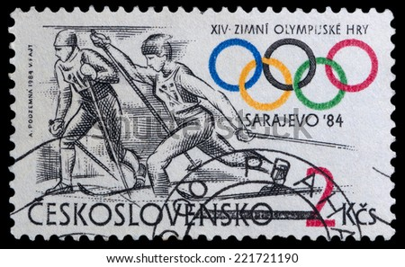 CZECHOSLOVAKIA - CIRCA 1984: A stamp printed in the CZECHOSLOVAKIA, shows skiing, series Olympic Games Sarajevo 1984, circa 1984 - stock photo