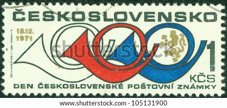 CZECHOSLOVAKIA - CIRCA 1971: A stamp printed in the Czechoslovakia, shows the Horn, circa 1971 - stock photo