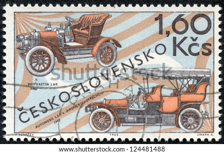 CZECHOSLOVAKIA - CIRCA 1969: A stamp printed in the Czechoslovakia, shows the Laurin and Klement Voiturette, 1907, and L and K touring car with American top, 1907, circa 1969 - stock photo