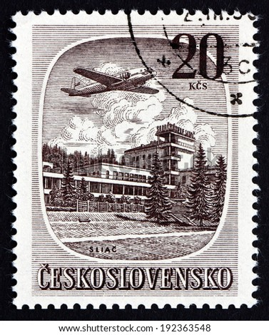 CZECHOSLOVAKIA - CIRCA 1951: a stamp printed in the Czechoslovakia shows the Plane over Silac, Slovakia, circa 1951 - stock photo
