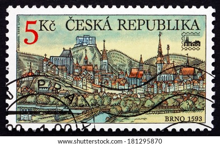 CZECHOSLOVAKIA - CIRCA 2000: a stamp printed in the Czechoslovakia shows View of Brno, the Historical Capital City of the Margraviate of Moravia, 2000 Philatelic Exhibition, circa 2000 - stock photo