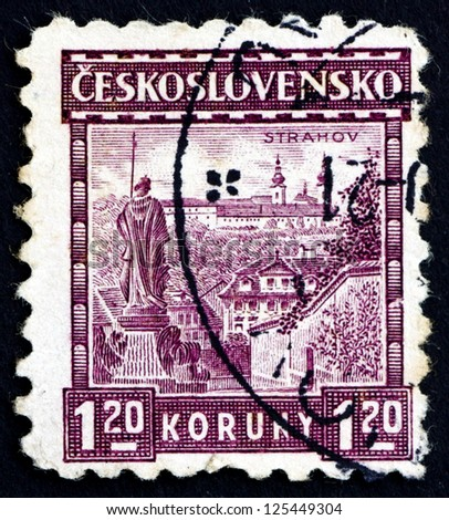 CZECHOSLOVAKIA - CIRCA 1926: a stamp printed in the Czechoslovakia shows View of Strahov Monastery, circa 1926
