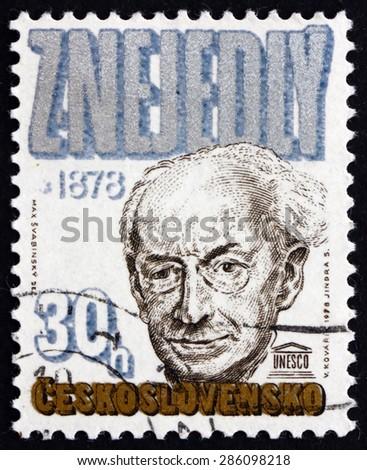CZECHOSLOVAKIA - CIRCA 1978: a stamp printed in the Czechoslovakia shows Zdenek Nejedly, Musicologist and Historian, circa 1978 - stock photo