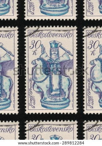 "CZECHOSLOVAKIA - CIRCA 1978: A used postage stamp printed in Czechoslovakia from the ""Slovak Ceramics"" issue, shows a blue and white ceramic horse and rider.  - stock photo"