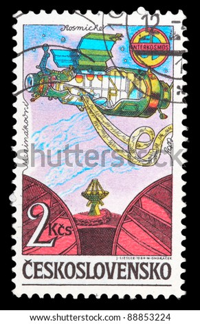 CZECHOSLOVAKIA - CIRCA 1984: An airmail stamp printed in Czechoslovakia shows a spacemans, series, circa 1984. - stock photo