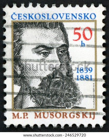 CZECHOSLOVAKIA - CIRCA 1989: post stamp printed in Ceskoslovensko (Czech) shows Russian composer Modest Petrovich Musorgsky Musorgskij (1839-1881); famous men; Scott 2732 A982 50h; circa 1989 - stock photo