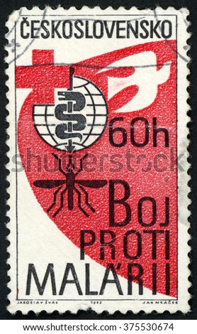 CZECHOSLOVAKIA - CIRCA 1962: post stamp printed in Ceskoslovensko shows malaria eradication emblem, cross and dove; Scott 1121 A427 60h red black white, circa 1962 - stock photo