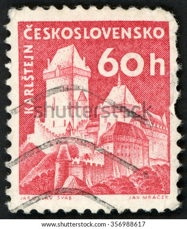 CZECHOSLOVAKIA - CIRCA 1960: post stamp printed in Czech (Ceskoslovensko) shows gothic Karlstejn (Karlstein) castle; Scott 975 A382 60h red; circa 1960