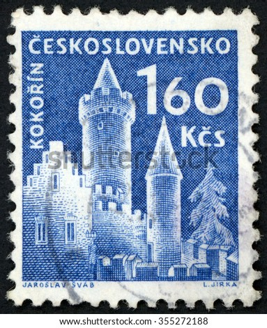 CZECHOSLOVAKIA - CIRCA 1960: post stamp printed in Czech (Ceskoslovensko) shows Kokorin castle; Scott 977 A382 1.60k blue; circa 1960 - stock photo