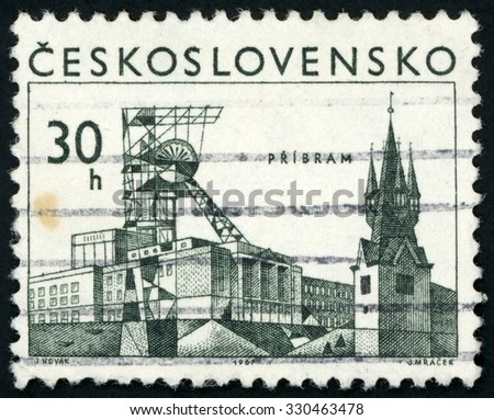 CZECHOSLOVAKIA - CIRCA 1967: post stamp printed in Czech (Ceskoslovensko) shows mining tower & church steeple; town Pribram; Scott 1486 A558 30h; circa 1967 - stock photo